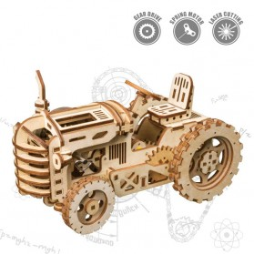 Robotime Mainan Puzzle Rakit Mechanical Gears Kayu 3D Model Traktor - ROKR-LK401 - Brown
