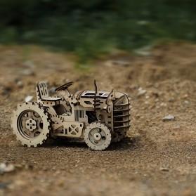 Robotime Mainan Puzzle Rakit Mechanical Gears Kayu 3D Model Traktor - ROKR-LK401 - Brown - 2