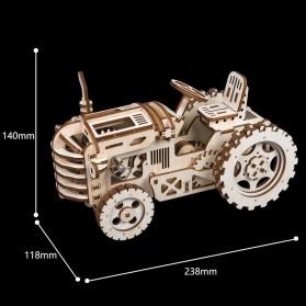 Robotime Mainan Puzzle Rakit Mechanical Gears Kayu 3D Model Traktor - ROKR-LK401 - Brown - 3