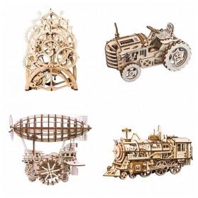 Robotime Mainan Puzzle Rakit Mechanical Gears Kayu 3D Model Traktor - ROKR-LK401 - Brown - 4