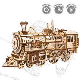 Robotime Mainan Puzzle Rakit Mechanical Gears Kayu 3D Model Lokomotif - ROKR-LK701 - Brown