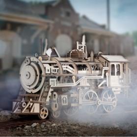 Robotime Mainan Puzzle Rakit Mechanical Gears Kayu 3D Model Lokomotif - ROKR-LK701 - Brown - 2