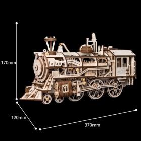 Robotime Mainan Puzzle Rakit Mechanical Gears Kayu 3D Model Lokomotif - ROKR-LK701 - Brown - 3