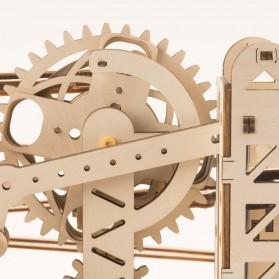 Robotime Mainan Puzzle Rakit Mechanical Gears Kayu 3D Model Lokomotif - ROKR-LK701 - Brown - 7