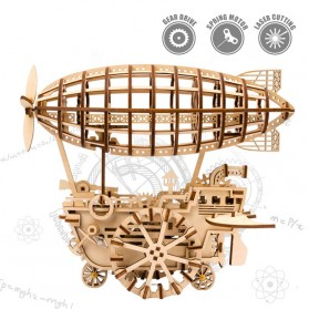 Robotime Mainan Puzzle Rakit Mechanical Gears Kayu 3D DIY Laser Cutting Model Balon Udara ROKR-LK702 - Brown