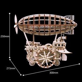 Robotime Mainan Puzzle Rakit Mechanical Gears Kayu 3D DIY Laser Cutting Model Balon Udara ROKR-LK702 - Brown - 3