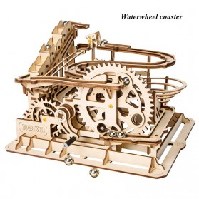 Robotime Mainan Puzzle Rakit Mechanical Gears Kayu 3D Model Waterwheel - ROKR-LG501 - Brown - 1