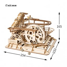 Robotime Mainan Puzzle Rakit Mechanical Gears Kayu 3D Model Waterwheel - ROKR-LG501 - Brown - 3