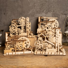 Robotime Mainan Puzzle Rakit Mechanical Gears Kayu 3D Model Waterwheel - ROKR-LG501 - Brown - 6