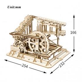 Robotime Mainan Puzzle Rakit Mechanical Gears Kayu 3D Model COG Coaster - ROKR-LG502 - Brown - 3