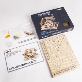 Robotime Mainan Puzzle Rakit Mechanical Gears Kayu 3D Model COG Coaster - ROKR-LG502 - Brown - 4