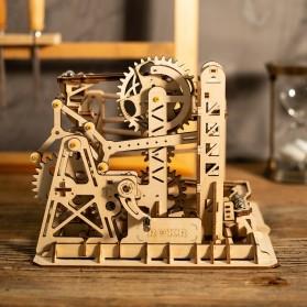 Robotime Mainan Puzzle Rakit Mechanical Gears Kayu 3D Model Lift Coaster - ROKR-LG503 - Brown - 2