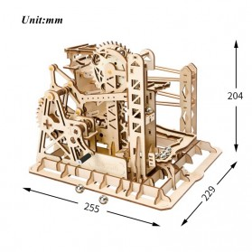Robotime Mainan Puzzle Rakit Mechanical Gears Kayu 3D Model Lift Coaster - ROKR-LG503 - Brown - 3