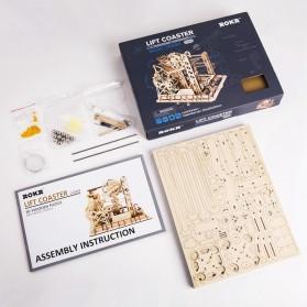 Robotime Mainan Puzzle Rakit Mechanical Gears Kayu 3D Model Lift Coaster - ROKR-LG503 - Brown - 4