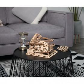 Robotime Mainan Puzzle Rakit Mechanical Gears Kayu 3D Model Lift Coaster - ROKR-LG503 - Brown - 5