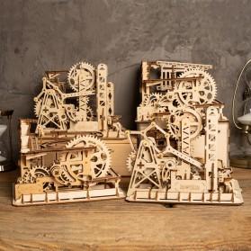 Robotime Mainan Puzzle Rakit Mechanical Gears Kayu 3D Model Lift Coaster - ROKR-LG503 - Brown - 6