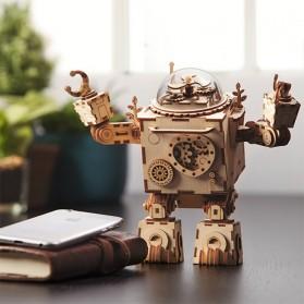 Robotime Mainan Puzzle Rakit Music Box Kayu 3D Model Robot Orpheus - AM601 - Brown