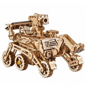 Robotime Mainan Puzzle Rakit Mechanical Gear Kayu 3D Solar Power Model Harbinger Rover - ROKR-LS402 - Brown