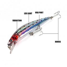 FEWIYONI Umpan Pancing Ikan Flashing LED Floating Lure Bait Rechargeable - m10 - Silver - 4