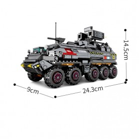 Xiaomi ONEBOT Building Block Wandering Earth Troop Carrier Mainan Mobil Tank  - CN-171 - Black - 5