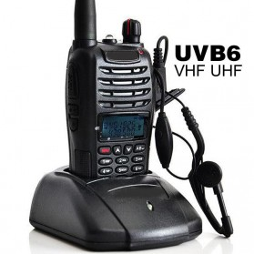 Taffware Walkie Talkie Dual Band Two Way Radio 5W 99CH UHF+VHF - UV-B6 - Black