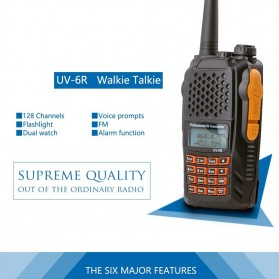 Taffware Walkie Talkie Dual Band Radio 5W 128 CH UHF+VHF - UV-6R - Black - 7