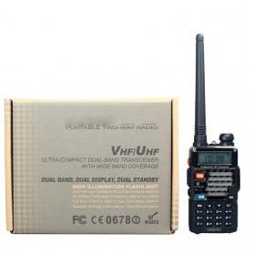 Taffware Walkie Talkie Dual Band 5W 128CH UHF+VHF - BF-UV-5RE Plus - Black - 6