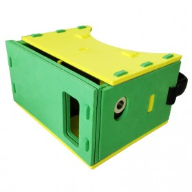 EVA Cardboard Leather Frame 3D Virtual Reality for Smartphone - Green/Yellow