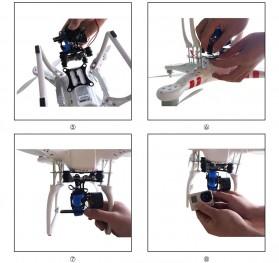 Light DJI Phantom GoPro CNC Brushless Motor Camera Gimbal with BGC ControllerRTF - Silver - 9