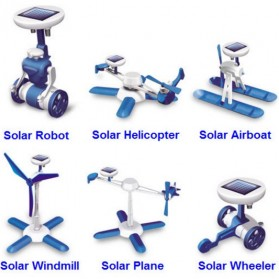 Educational 6 in 1 DIY Solar Hybrid Robot Kit Toy - Blue/Gray