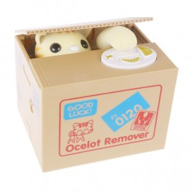 Ocelot Remover Celengan Kucing Lucu Steal Money Cat Piggy Bank - Brown - 1