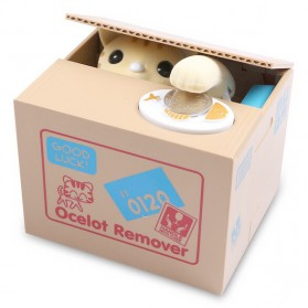 Ocelot Remover Celengan Kucing Lucu Steal Money Cat Piggy Bank - Brown - 2