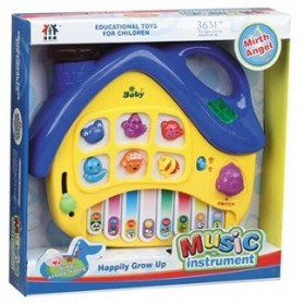 Puzzle Cartoon House Electronic Piano Kids Toys - Yellow