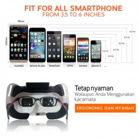 RITECH VR Cardboard 3D Virtual Reality 3rd Generation - RIEM 3 - White - 2