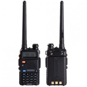 Taffware Walkie Talkie Dual Band 5W 128CH UHF+VHF - BF-UV-5R - Black