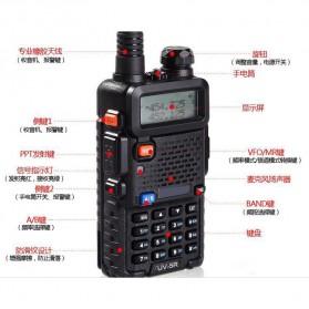 Taffware Walkie Talkie Dual Band 5W 128CH UHF+VHF - BF-UV-5R - Black - 4