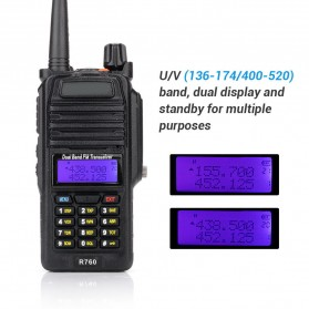 Taffware Walkie Talkie Dual Band 5W 128CH UHF+VHF - BF-R760 - Black - 3