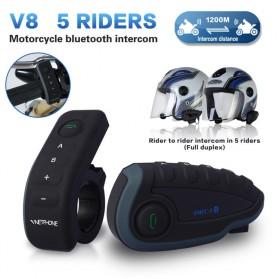 Vnetphone V8 Helmet Bluetooth Interphone 1200 Meter dengan Remote - Black - 2