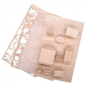 Furnitur Miniatur 3D DIY 1:12 34 PCS/Set - Brown