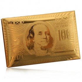 Kartu Remi Poker Lapisan Gold Foil Motif Dollar - THKK9273A - Golden