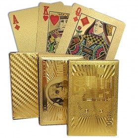 Kartu Remi Poker Lapisan Gold Foil Motif Dollar - THKK9273A - Golden - 2