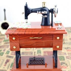 AIBOULLY Musical Box Kotak Musik Bentuk Miniatur Mesin Jahit - YL1010 - Brown