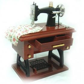 AIBOULLY Musical Box Kotak Musik Bentuk Miniatur Mesin Jahit - YL1010 - Brown - 3
