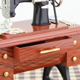 AIBOULLY Musical Box Kotak Musik Bentuk Miniatur Mesin Jahit - YL1010 - Brown - 6