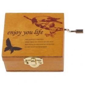 Kotak Musik Klasik Vintage Wooden Music Box - Yellow - 2