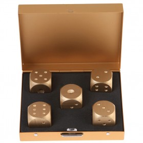 Mainan Dadu Alumunium Alloy 5PCS - Square Case - Golden