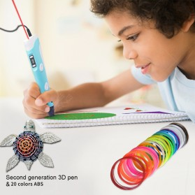 3D-PEN2  Pena Magic Drawing Printer with 9 Meter PLA Filament - DW-G2 - Blue - 4