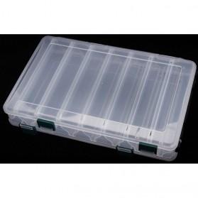 Box Kotak Perkakas Kail Pancing Dua Sisi 14 Slot - Transparent