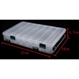 Box Kotak Perkakas Kail Pancing Dua Sisi 14 Slot - Transparent - 4
