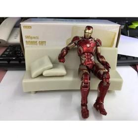 SHFiguarts Action Figure Iron Man Mark 42 + Sofa Tony Stark - Red/Golden - 5